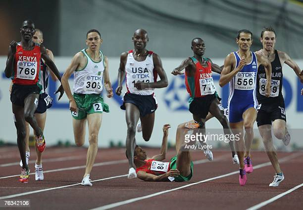 Youssef Baba of Morocco and Daniel Kipchirchir Komen of Kenya collide and fall during their Men's 1500m Semi Finals on day three of the 11th IAAF...