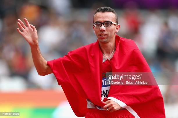 Youssef Benibrahim of Morocco celebrates winning gold in the Men's 5000m T13 Final during Day Three of the IPC World ParaAthletics Championships 2017...