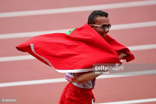 Youssef Benibrahim of Morocco celebrates winning the Men's 5000m T13 Final during day three of the IPC World ParaAthletics Championships 2017 at the...