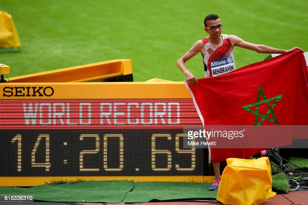 Youssef Benibrahim of Morocco celebrates winning the Men's 5000m T13 Final and setting a new world record during day three of the IPC World...