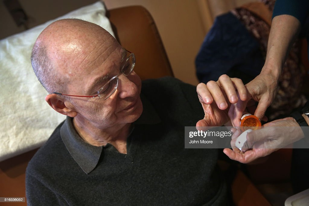 Youssef Cohen, 68, takes prescription medication while undergoing cancer treatment on March 17, 2016 in New York City. Cohen has an incurable cancer called mesothelioma and is advocating for the right to choose how and when he will die, proposed in New York State's End of Life Options Act, currently in front of the state legislature. Cohen is a professor of political science at New York University and is currently on sabbatical, due to his illness. He had his first bout with cancer in 2012 and has since undergone chemotherapy, surgery and radiation. He is currently taking immunotherapy infusions of the drug Keytruda in a final effort to fight the disease. The national 'right to die' movement is also known as 'death with dignity,' or called 'physician-assisted suicide' by opponents. It is now completely legal in 4 states, including California, where the new law goes into effect this June. If New York does not pass its legislation in time for Cohen's death, he and his wife say they are prepared to move to Oregon, the first state to make death with dignity legal, in order to insure that he dies without suffering.