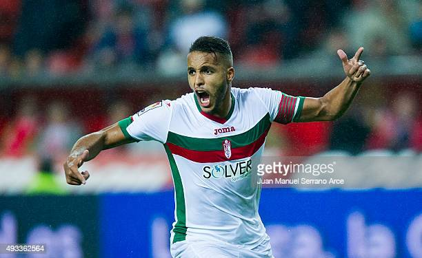 Youssef El Arabi of Granada CF celebrates after scoring during the La Liga match between Real Sporting de Gijon and Granada CF at Estadio El Molinon...