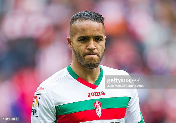 Youssef El Arabi of Granada CF looks on prior to the start the La Liga match between Athletic Club Bilbao and Granada CF at San Mames Stadium on...