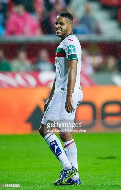 Youssef El Arabi of Granada CF reacts during the La Liga match between Real Sporting de Gijon and Granada CF at Estadio El Molinon on October 19 2015...