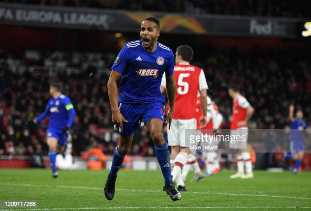 Youssef El Arabi of Olympiacos FC celebrates after scoring his team's second goal in extra-time during the UEFA Europa League round of 32 second leg...