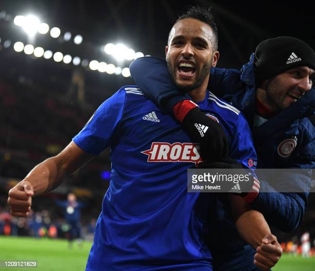 Youssef El Arabi of Olympiacos FC celebrates victory after the UEFA Europa League round of 32 second leg match between Arsenal FC and Olympiacos FC...