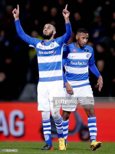 Youssef el Jebli of De Graafschap celebrates 11 during the Dutch Eredivisie match between De Graafschap v ADO Den Haag at the De Vijverberg on March...