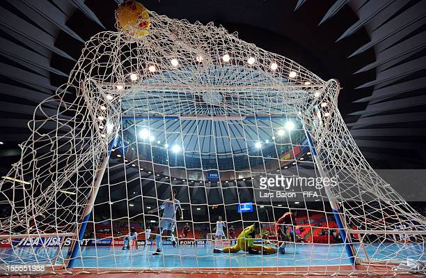 Youssef El Mazray of Morocco scores his teams first goal during the FIFA Futsal World Cup Group B match between Morocco and Iran at Indoor Stadium...
