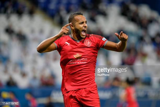 Youssef ElArabi celebrates after scoring in the Amir Cup Final at the Al Wakrah Stadium in Doha Qatar on 16 May 2019
