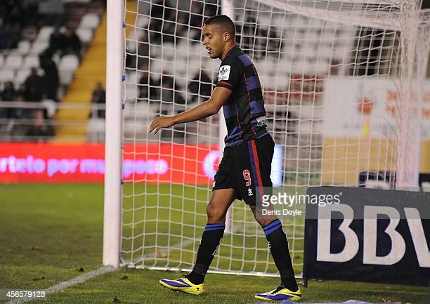 Youssef ElArabi of Granada CF reacts after missing a shot on goal during the La Liga match between Rayo Vallecano de Madrid and Granada CF at Teresa...