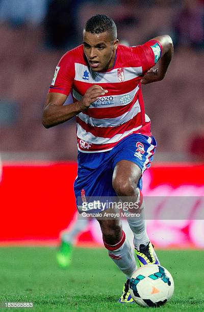 Youssef ElArabi of Granada CF runs for the ball during the La Liga match between Granada CF and Athletic Club at Estadio Nuevo Los Carmenes on...