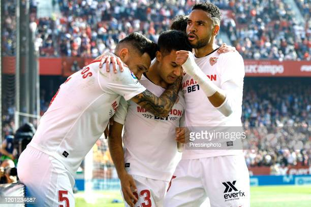 Youssef En Nesyri Lucas Ocampos and Sergio Reguilon of Sevilla FC celebrating the 10 during the Liga match between Sevilla FC and RCD Espanyol at...
