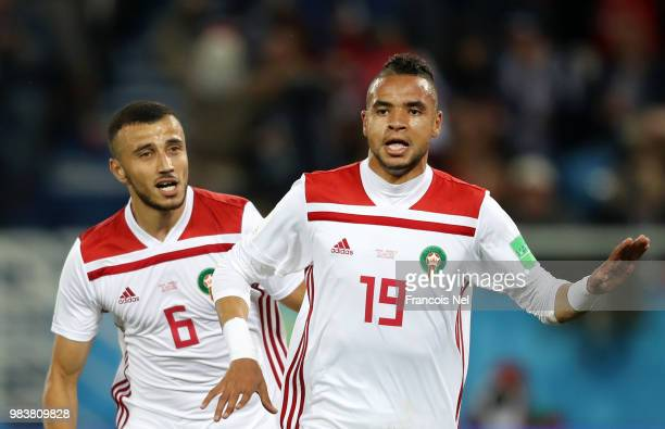 Youssef En Nesyri of Morocco celebrates after scoring his team's second goal during the 2018 FIFA World Cup Russia group B match between Spain and...
