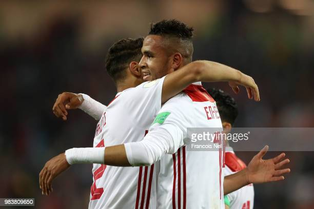 Youssef En Nesyri of Morocco celebrates with teammate Achraf Hakimi after scoring his team's second goal during the 2018 FIFA World Cup Russia group...