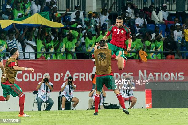 Youssef En Nesyri of Morocco during the African Nations Cup match between Morocco and Tongo on January 20 2017 in Oyem Gabon