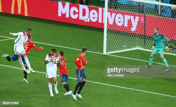 Youssef En Nesyri of Morocco scores his team's second goal during the 2018 FIFA World Cup Russia group B match between Spain and Morocco at...