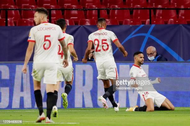 Youssef En Nesyri of Sevilla FC celebrates 3-2 during the UEFA Champions League match between Sevilla v Krasnodar at the Estadio Ramon Sanchez...