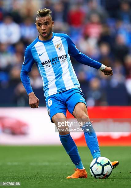 Youssef EnNesyri of Malaga CF in action during the La Liga match between Malaga and Villarreal at Estadio La Rosaleda on April 1 2018 in Malaga Spain