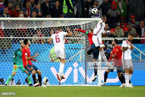 Youssef EnNesyri of Morocco scores his sides second goal during the 2018 FIFA World Cup Russia group B match between Spain and Morocco at Kaliningrad...