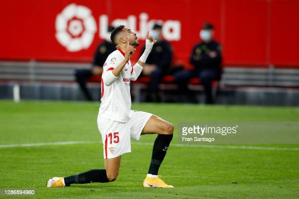 Youssef En-Nesyri of Sevilla celebrates after scoring his team's second goal during the La Liga Santander match between Sevilla FC and RC Celta at...
