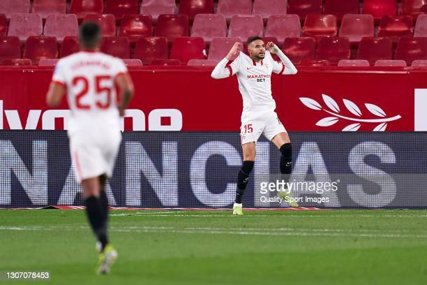 Youssef En-Nesyri of Sevilla FC celebrates after scoring his team's first goal during the La Liga Santander match between Sevilla FC and Real Betis...