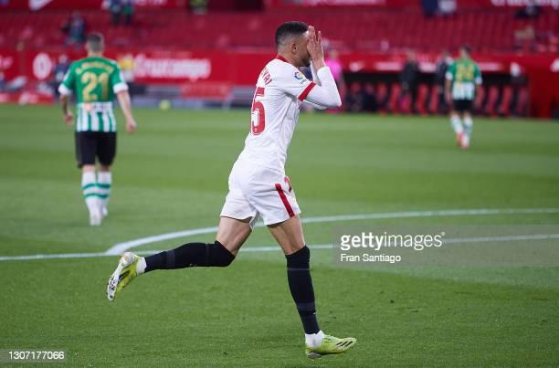 Youssef En-Nesyri of Sevilla FC celebrates scoring a goal during the La Liga Santander match between Sevilla FC and Real Betis at Estadio Ramon...
