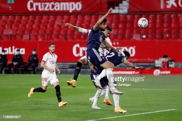 Youssef En-Nesyri of Sevilla scores his team's second goal during the La Liga Santander match between Sevilla FC and RC Celta at Estadio Ramon...