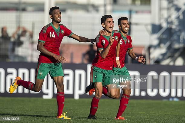 Youssef Jamaaoui of Morocco U21 Achraf Bencharki of Morocco U21 Reda Hajhouj of Morocco U21 during the Festival International Espoirs de Football...