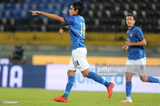 Youssef Maleh of Italy U21 celebrates after scoring a goal during the UEFA Euro Under 21 Qualifier match between Italy U21 and Sweden U21 at Arena...