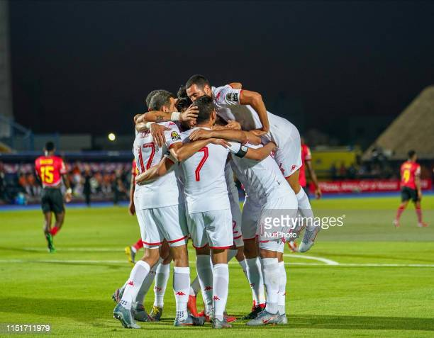 Youssef Msakni of Tunisia celebrating scoring to 1-0 during the 2019 African Cup of Nations match between Tunisia and Angola at the Suez Army stadium...