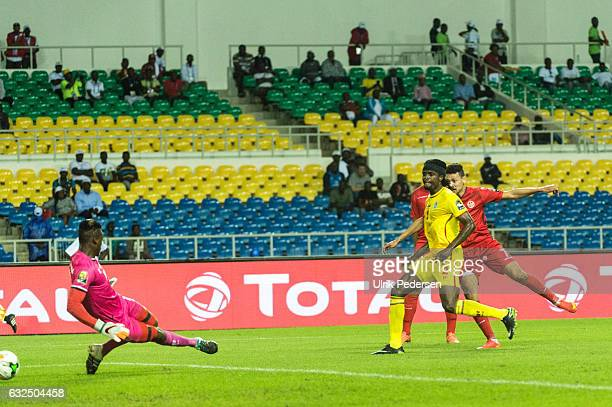 Youssef Msakni scores to make 20 during the African Nations Cup match between Zimbabwe and Tunisia on January 23 2017 in Libreville Gabon