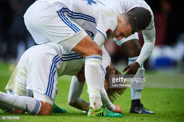 Youssef Toutouh Peter Ankersen and Danny Amankwaa of FC Copenhagen celebrate after scoring their third goal during the Danish Alka Superliga match...