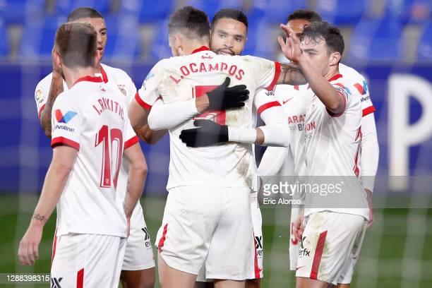 Yousseff En-Nesyri of Sevilla CF celebrates scoring his side's first goal with Lucas Ocampos of Sevilla CF during the La Liga Santander match between...