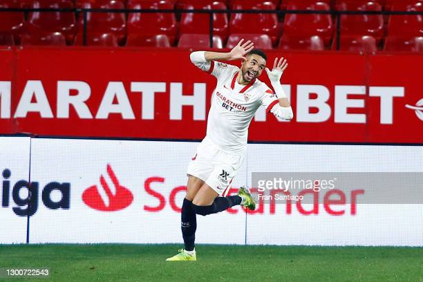 Yousseff En-Nesyri of Sevilla FC celebrates after scoring their team's third goal during the La Liga Santander match between Sevilla FC and Getafe CF...