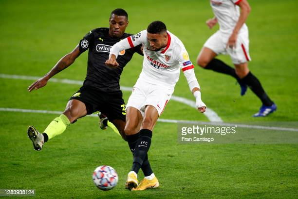 Yousseff En-Nesyri of Sevilla FC scores his sides second goal during the UEFA Champions League Group E stage match between FC Sevilla and FC...