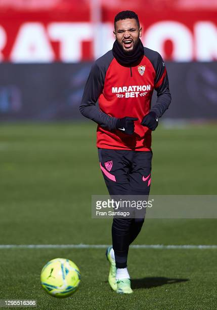 Yousseff En-Nesyri of Sevilla FC warms up prior to the La Liga Santander match between Sevilla FC and Real Sociedad at Estadio Ramon Sanchez Pizjuan...