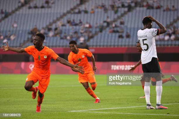 Youssouf Dao of Team Ivory Coast celebrates after scoring their side's first goal during the Men's Group D match between Germany and Cote d'Ivoire on...