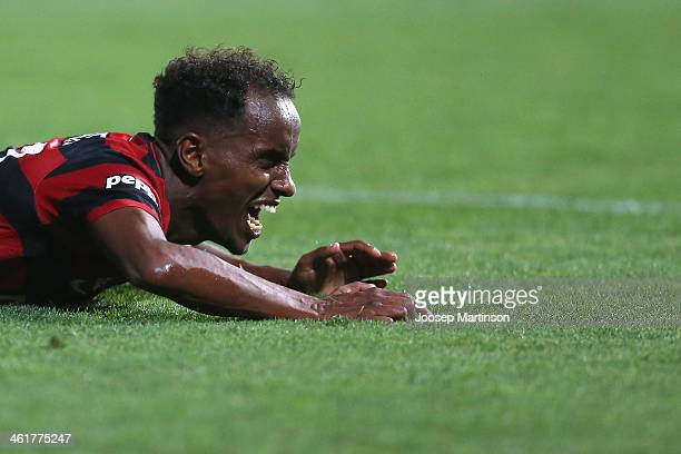 Youssouf Hersi of the Wanderers screams during the round 14 ALeague match between the Western Sydney Wanderers and Sydney FC at Parramatta Stadium on...