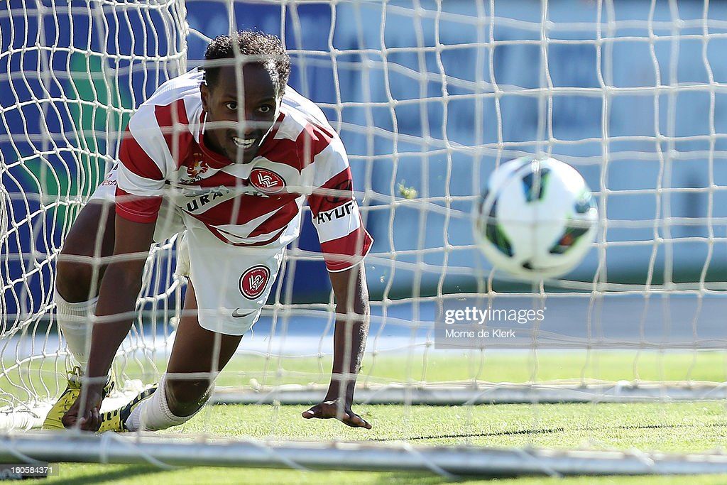 Youssouf Hersi of Western Sydney looks up after scoring a goal during the round 19 A-League match between Adelaide United and the Western Sydney Wanderers at Hindmarsh Stadium on February 3, 2013 in Adelaide, Australia.