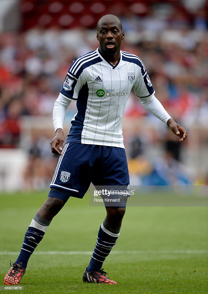 Youssouf Mulumbu of WBA during the pre season friendly match between Nottingham Forest and West Bromwich Albion at the City Ground on August 2, 2014 in Nottingham, England.