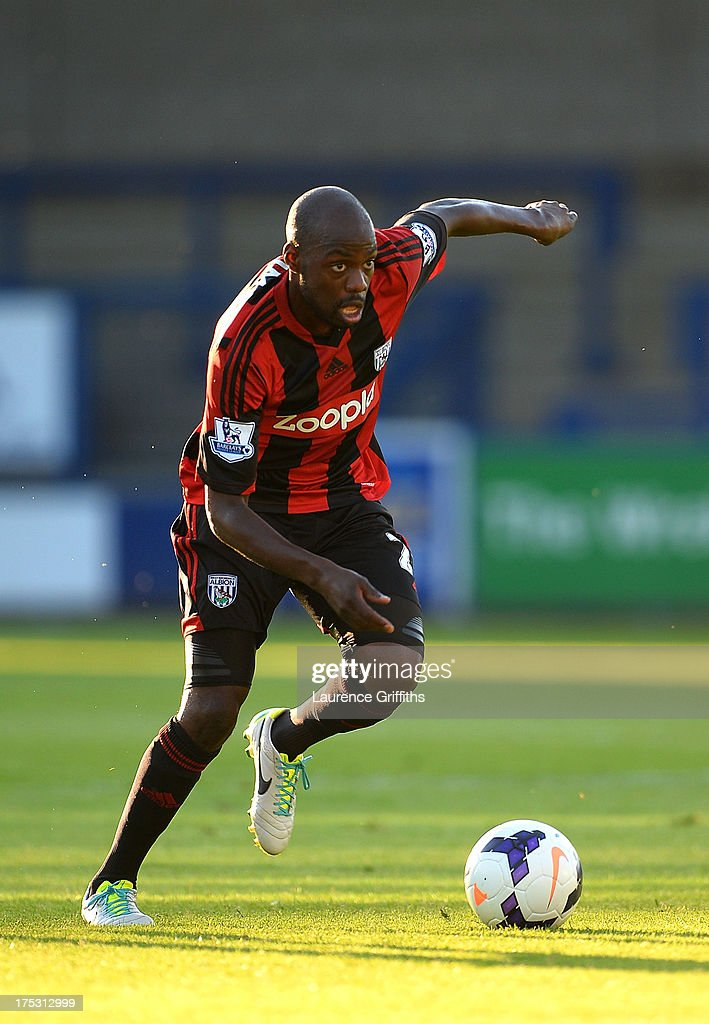 Youssouf Mulumbu of West Bromwich Albion in action during a Pre Season Friendly between West Bromwich Albion and Genoa at the New Bucks Head Stadium on August 1, 2013 in Telford, England.