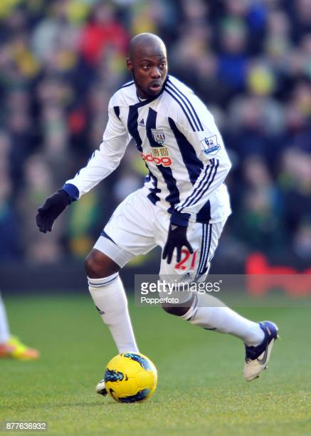 Youssouf Mulumbu of West Bromwich Albion in action during the Barclays Premier League match between West Bromwich Albion and Norwich City at The...