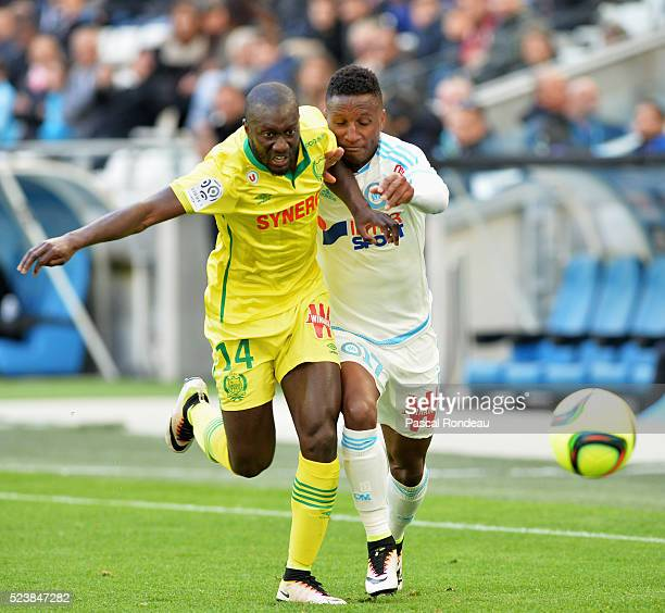 Youssouf Sabaly from Nantes and Bouna Sarr in action during the game between Olympique de Marseille v FC Nantes at Stade Velodrome on April 24 2016...