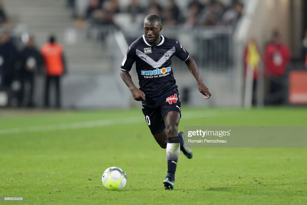 Youssouf Sabaly of Bordeaux in action during the Ligue 1 match between FC Girondins de Bordeaux and Montpellier Herault SC at Stade Matmut Atlantique on December 21, 2017 in Bordeaux, .