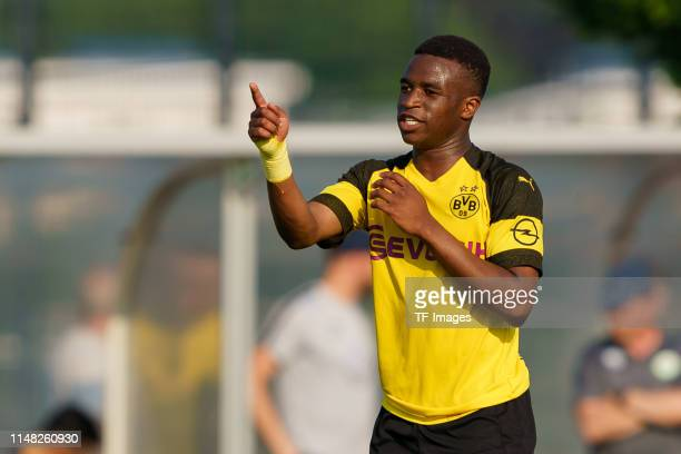 Youssoufa Moukoko Borussia Dortmund U17 gestures during the B Juniors German Championship Semi Final Leg One match between Borussia Dortmund U17 and...