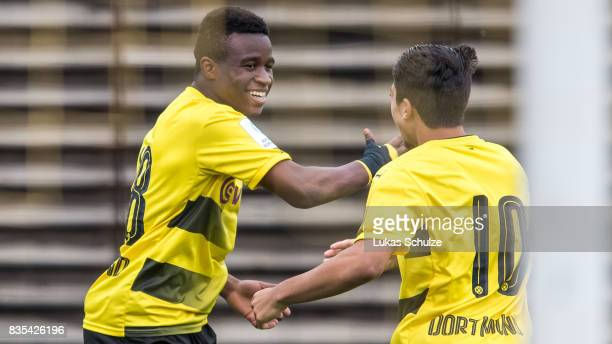 Youssoufa Moukoko celebrates his goal with Immanuel Pherai during the B Juniors Bundesliga match between Borussia Dortmund and FC Viktoria Koeln on...