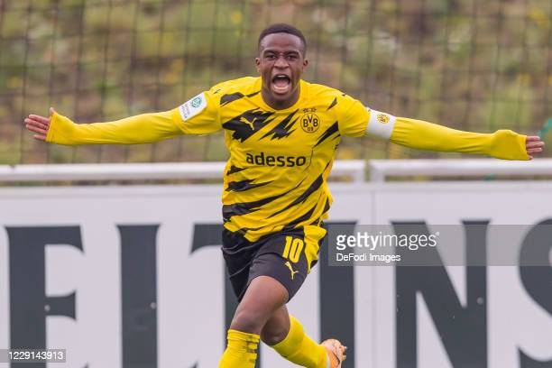 Youssoufa Moukoko of Borussia Dortmund celebrates after scoring his team's first goal during the Junior Bundesliga West match between FC Schalke 04...