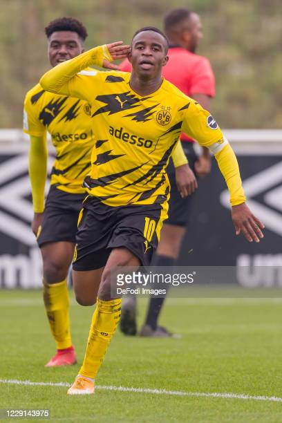 Youssoufa Moukoko of Borussia Dortmund celebrates after scoring his team's second goal during the Junior Bundesliga West match between FC Schalke 04...