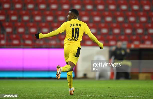 Youssoufa Moukoko of Borussia Dortmund celebrates after scoring their team's first goal during the Bundesliga match between 1. FC Union Berlin and...
