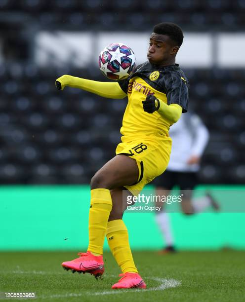 Youssoufa Moukoko of Borussia Dortmund during the UEFA Youth League match between Derby U19 and Borussia Dortmund U19 at Pride Park on February 11,...